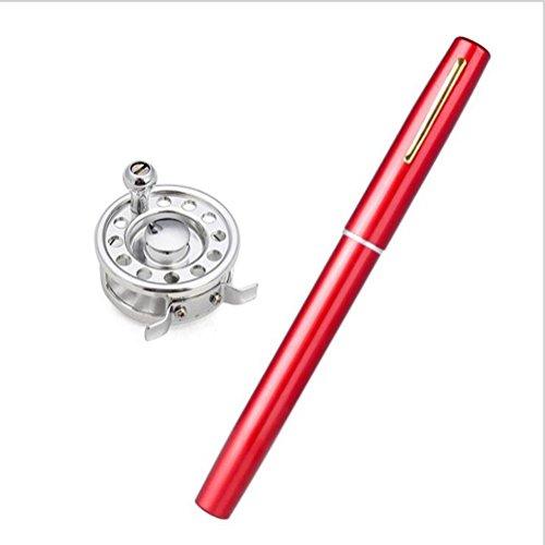 GZQ 1.6 M Angelrutenspule Combo Portable Pocket Pen Angeln Rob Teleskopische Angelruten mit Fliegenfischrolle Red fMijvJS