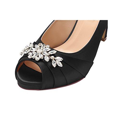 2a7614cdcda8c ERIJUNOR E0055 Peep Toe Mid Heels for Woman Rhinestones Satin Evening Prom  Wedding Shoes Black Size 6