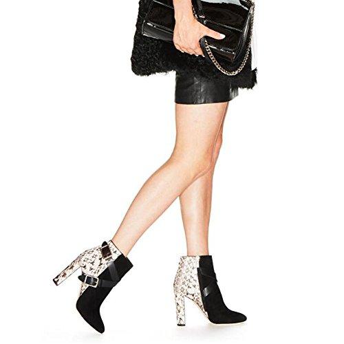L@YC Botas De Mujer PU OtoñO Invierno CóModo Correas Cruzadas Botas De Metal Con Botas Gruesas Negro Black