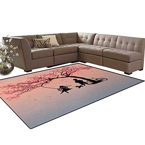 """Tree of Life,Floor Mat,Children Playing on a Tire Swing Under Cherry Tree with Dog Blossom Spring Art,Soft Area Rugs,Pink Black,6'6"""" x10'"""