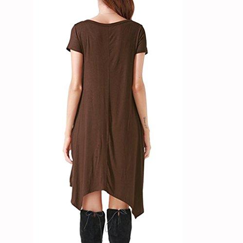 ... ZIYOU Damen Kurzarm T-Shirt Knielang Kleid, Frauen Elegant Rundhals  Bluse Kleid Festlich Asymmetrisches f2f21ea157