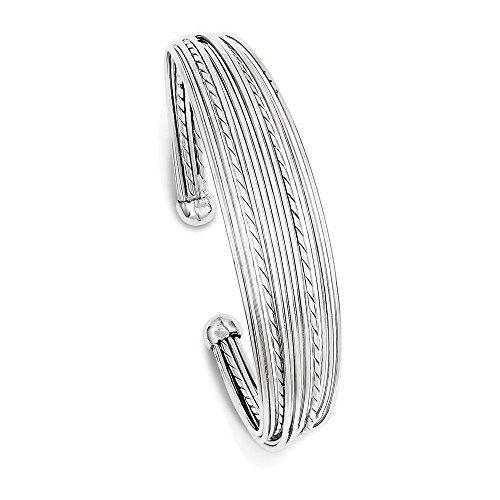 14 Mm Polished Bangle - Sterling Silver Rhodium-plated 14mm Polished RoundCuff Bangle Bracelet