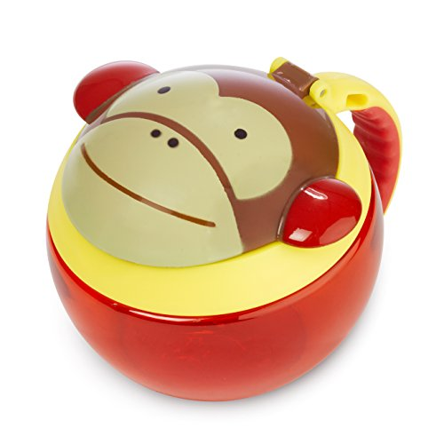 Skip Hop Baby Zoo Little Kid and Toddler Snack Cup with Snap Top Lid and No Spill Opening, Multi, Marshall Monkey