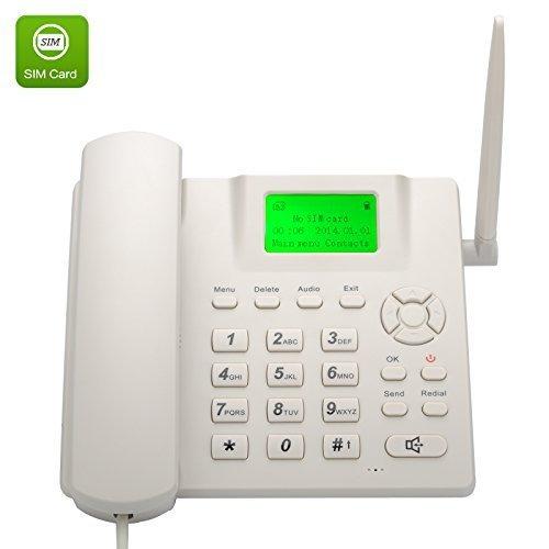 Teléfono de escritorio inalámbrico (cuatribanda, GMS, función SMS), manos libres, color blanco