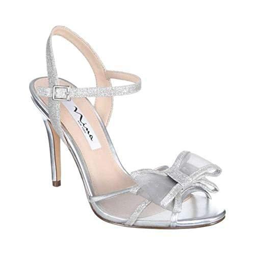 NINA Womens Charm Fabric Peep Toe Special Occasion, White Diamond, Size 8.5 ()