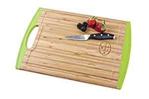 """Bamboo Cutting Board with Silicone Edges - Large Size Cutting Board 16"""" - No More Mold On Your Cutting Board -Non Slip- Anti Microbial -Non Toxic-Juice Grooves-with Handle"""