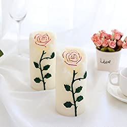 Rose Flower Multi Color Flameless Candles with Rem