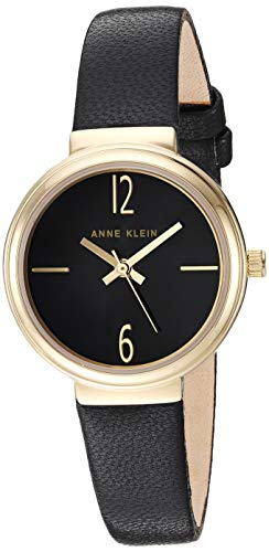 (Anne Klein Women's AK/3230BKBK Gold-Tone and Black Leather Strap Watch)