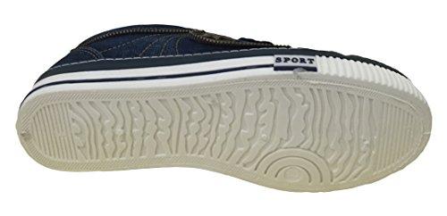 Jm-6696 Heren Denim Sneakers Lace Up Casual Jeans Canvas Schoenen Mode Urban Stone-washed, Zwart, Marine Marine