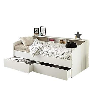 Funktionsbett Kinderzimmer | Funktionsbett 90 200 Cm Weiss Inkl Bettschubkasten Regalwand