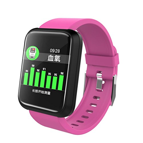 HP95 Sports Smart Watch with Heart Rate Blood Pressure Monitor,Bluetooth 4.1,Waterproof IP67,Standby 480 Hours,Work 7-10 Days (Hot Pink) by HP95