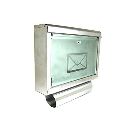 Briefkasten aus Edelstahl mit großem Sichtfenster und Zeitungsrolle Modell 051