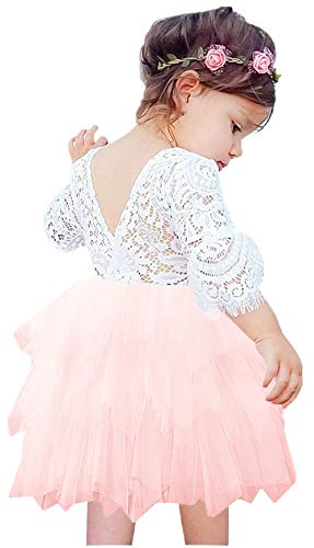2Bunnies Girl Beaded Peony Lace Back A-Line Tiered Tutu Tulle Flower Girl Dress (Pink Bell Sleeve, 6) ()