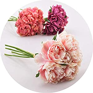 vibe-pleasure Artificial Flower Hydrangea 5 Heads Peony Bridal Bouquet Silk Flower for Wedding Valentine's Day Party Home DIY Decoration 71