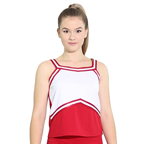 Danzcue Womens Sweetheart Cheerleaders Uniform Shell Top, Scarlet-White, X-Large ()