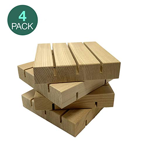 4 Pack All Natural Cedar Wood Bar Soap Dish Holder Saver, Chemical Free, Handmade in USA