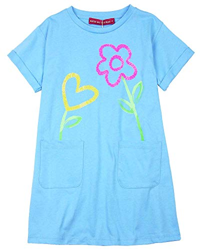 (Agatha Ruiz De La Prada Girl's T-Shirt Dress with Flowers, Sizes 4-12 (12) Blue)