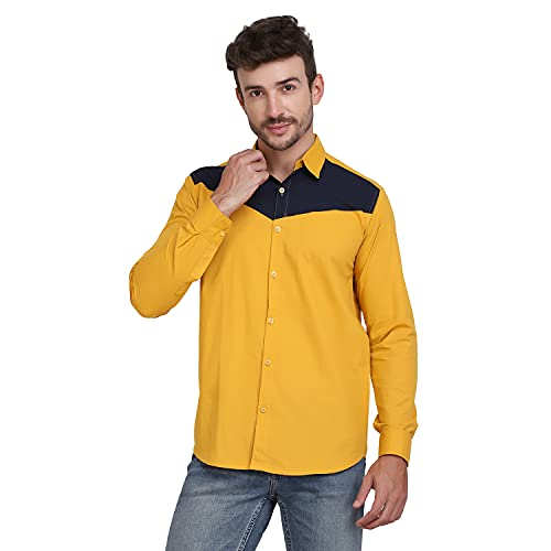 XTL Regular Button Down Collar Fit Solid Mustard Cotton Full Sleeve Casual Shirt for Men