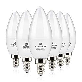 Hansang LED Candelabra Bulbs 6 Watt (60 Watt Equivalent),Daylight 5000K,600lm RA>83,Candle Bulb Base E12 for Chandelier B11 Ceiling Fan Bulb Non-Dimmable (6 Pack)