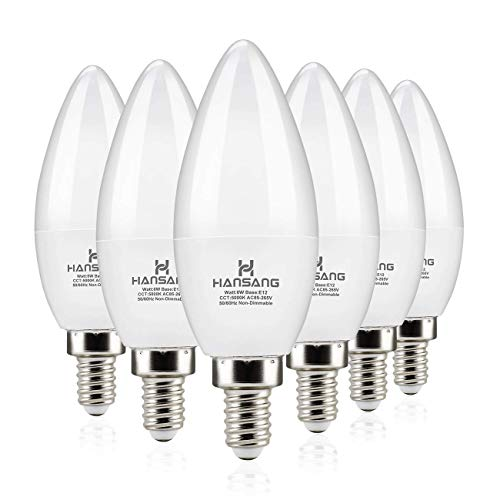 Hansang LED Candelabra Bulbs 6 Watt (60 Watt Equivalent),Daylight 5000K,600lm RA>83,Candle Bulb Base E12 for Chandelier B11 Ceiling Fan Bulb Non-Dimmable (6 Pack)