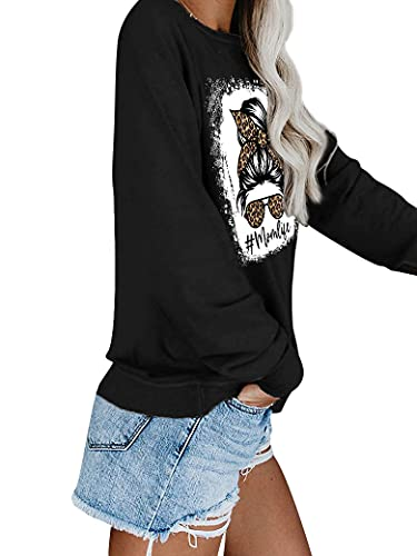MYMORE Mom Life Leopard Graphic Tee Long Sleeve Skull Shirts For Women Tops