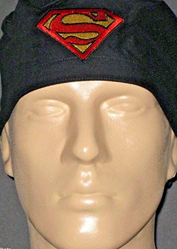 Superman Logo On Black Surgical Scrub Hat With Sweat Band ()