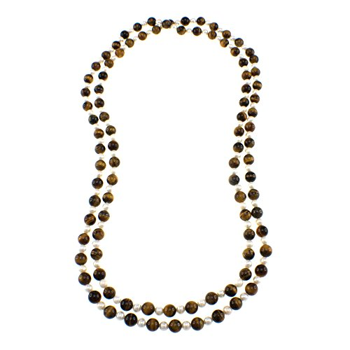 - Pearlz Ocean Tigers Eye and White Freshwater Pearl Endless Necklace