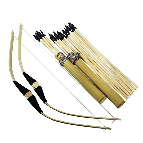 2-Pack Handmade Wooden Bow and Arrow Set-24 Wood Arrows and 2 Quivers -