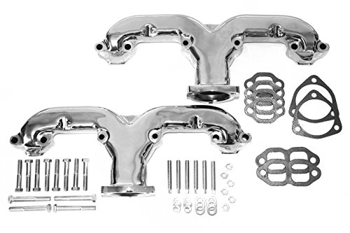 Chevy Ram Horn Chrome Cast Iron Exhaust Manifold / Headers SBC Hot Rod