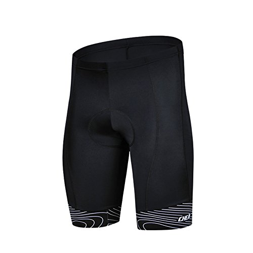 LSERVER Outdoor Sports Mens Quick-Dry Breathable Bicycle Cycling 3D Padded Shorts Black M