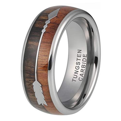 iTungsten 8mm Mens Tungsten Carbide Rings Wedding Bands Koa Wood Arrow Inlay Hunting Jewelry
