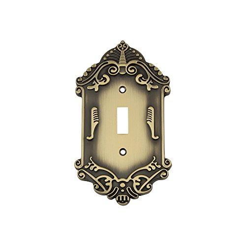 Nostalgic Warehouse 719722 Victorian Switch Plate with Single Toggle, Antique Brass