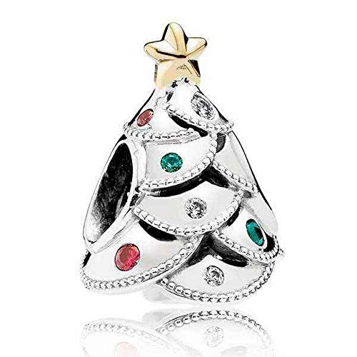 Pandora Charm Festive Tree with 14K Gold and Red, Green, 791999CZRMX (Tree Festive Christmas)