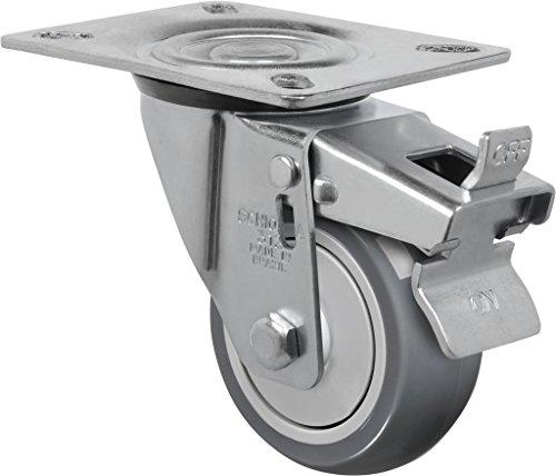 Schioppa-L12-Series-GL-312-BPE-G-3-x-1-14-Swivel-Caster-with-Total-Lock-Brake-Non-Marking-Thermoplastic-PVC-Precision-Ball-Bearing-Wheel-125-lbs-Plate-3-18-x-4-18-Bolt-Holes-3-18-x-2-14