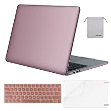 Mosiso Plastic Hard Case with Keyboard Cover with Screen Protector with Storage Bag for Newest Macbook Pro 13 Inch (A1706/A1708, 2017 & 2016 Release), Rose Gold