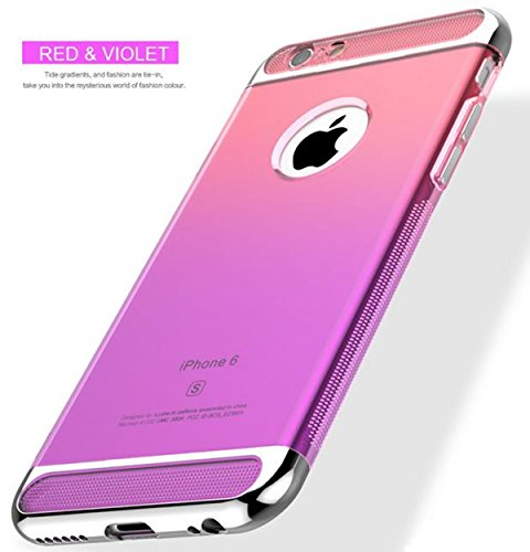 Price comparison product image Auroralove iPhone 6 Plus / 6s Plus 5.5 Inch 3 in 1 TPU Gradient Soft Slim Transparent Shockproof Aromor Rubberized Silicone Case for iPhone 6 Plus / 6s Plus-Red and Purple