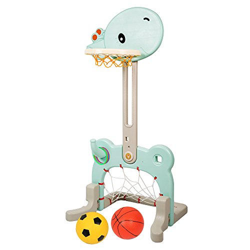 LBLA 3 in 1 Sport Center Easy Score Basketball Hoop, Soccer, Ring Toss Toddler Activity Toys for 1 2 3 4 Years Old Kids-Giraffe, (Activity Hoops)