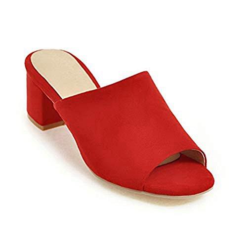 T-JULY Fashion Suede Chunky Heeled Platform Sanding Slide Sandals Peep Toe Slip On Comfy Dress Pumps Shoes Red (Pumps Suede Toe Peep Platform)