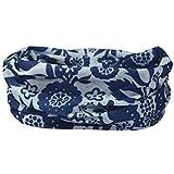 BLUE & LIGHT GREY FLOWER PRINT RUFFNEK® NECK WARMER - Multi Scarf/Snood headwear for Women and Children