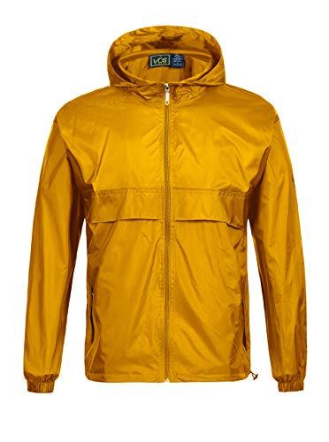 GEEK LIGHTING Rain Jacket for Men, Outdoor Zipper Waterproof Lightweight Raincoat Windbreaker with Hooded (Yellowe, XX-Large)