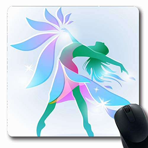 LifeCO Computer Mousepad Blossom Ballet Abstract Dancing Girl Body Flower Dance Dancer Figure Lady Design Jump Oblong Shape 7.9 x 9.5 Inches Oblong Gaming Non-Slip Rubber Mouse Pad - Ballet Blossom