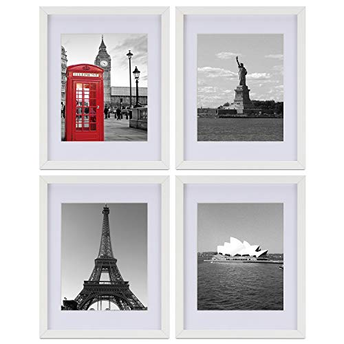 ONE WALL Tempered Glass 11x14 Picture Frame Set of 4 with Mats for 8x10, 5x7 Photo, White Wood Frame for Wall and Tabletop - Mounting Material Included