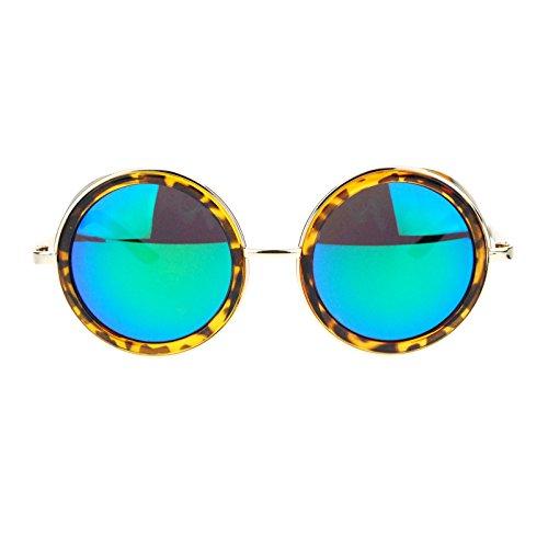 Side Visor Circle Round Retro Victorian Steam Punk mirrored Lens Sunglasses Tortoise - Victorian Steampunk Sunglasses