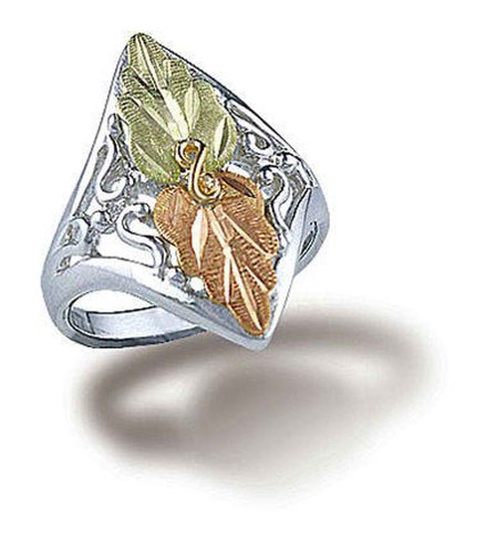 Black Hills Gold Sterling Silver Ring - Landstroms Sterling Silver Ladies Ring with 12k Black Hills Gold Leaves - MRLLR2950