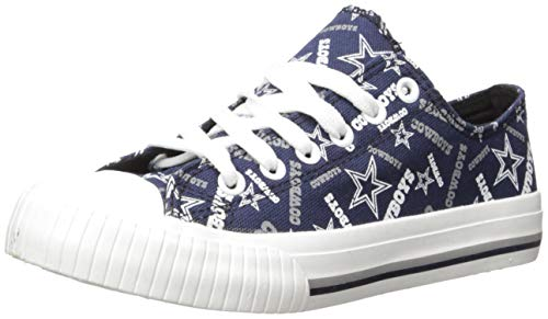 FOCO NFL Womens Low Top Repeat Print Canvas Shoe: Dallas Cowboys, Large
