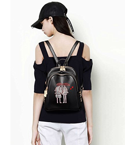 Bag Leather Women amp;DORIS Satchel PU Travel NICOLE Daypack Black Black Girls Classic Fashion 6 Backpack Shoulder Schoolbag AHq8H