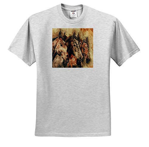 Lens Art by Florene - Watercolor Art - Image of Three Majestic Brown Horses in Watercolors - T-Shirts - Adult Birch-Gray-T-Shirt 4XL (ts_306892_24)