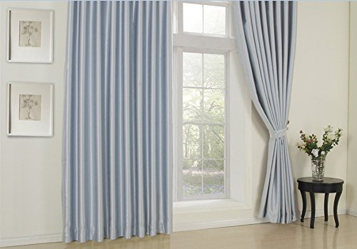"MICHELE HOME FASHION 100"" W x 102"" L (Set of 2 panels) Solid Light Blue Curtain Blackout Curtain Double Pleated Curtain Drapery Custom Window Treatments ? Draperies & Curtains ? Panels"