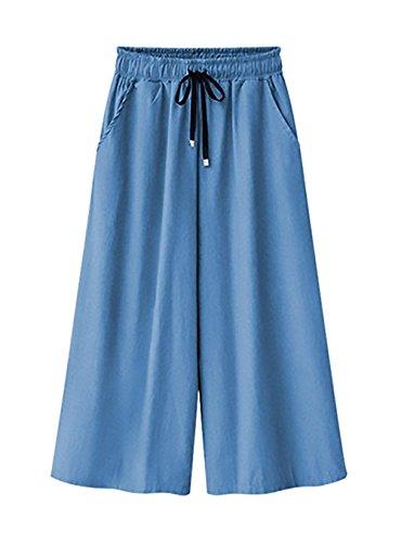 Estivi Ragazze Waist Pantaloni Anteriori Coulisse Pantaloni Elastica Dritti Stile Donna Lunga Primaverile Baggy Trousers 8 High Tempo Jeans Larghi Con Vita 7 Azzurro Modern Tasche Libero Pantaloni BWxqw6XYnn