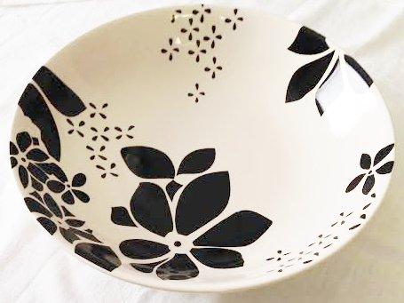 Ceramic Heavy (ALYSON Black & White Heavy Ceramic Pasta Bowl (Large 13.75
